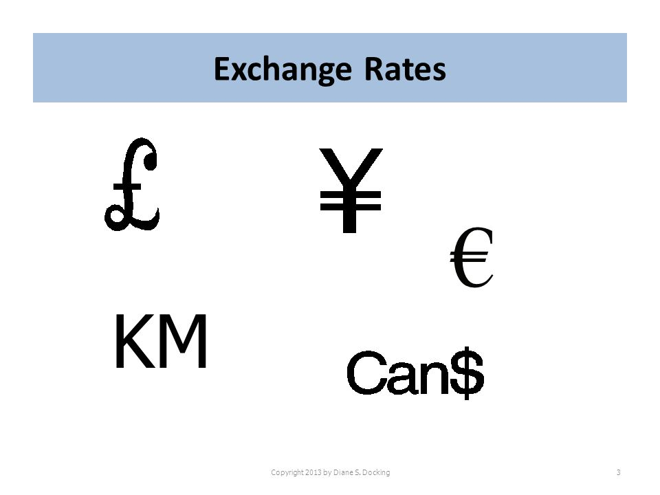 Exchange Rates Copyright 2013 by Diane S. Docking3 KM