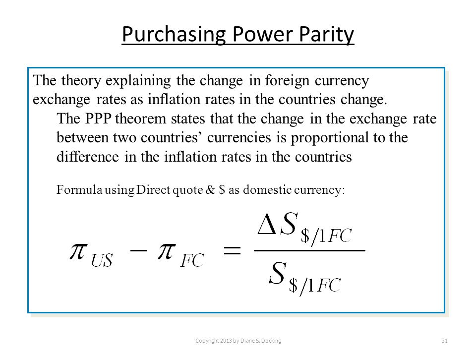 Purchasing Power Parity Copyright 2013 by Diane S. Docking31 The theory explaining the change in foreign currency exchange rates as inflation rates in