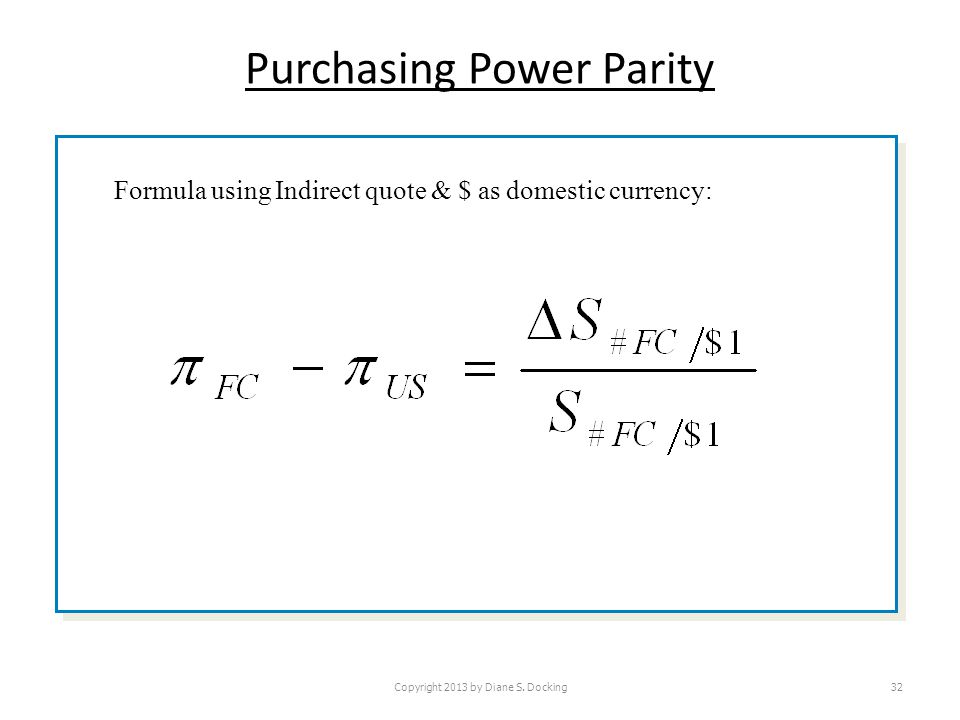 Purchasing Power Parity Copyright 2013 by Diane S.