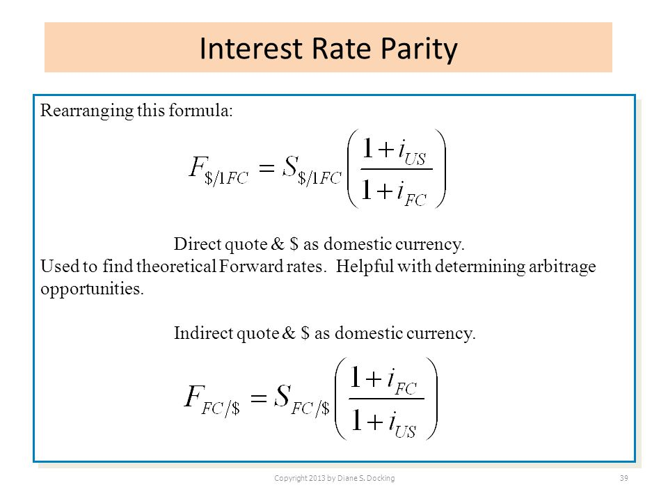 Interest Rate Parity Copyright 2013 by Diane S. Docking39 Rearranging this formula: Direct quote & $ as domestic currency. Used to find theoretical Fo