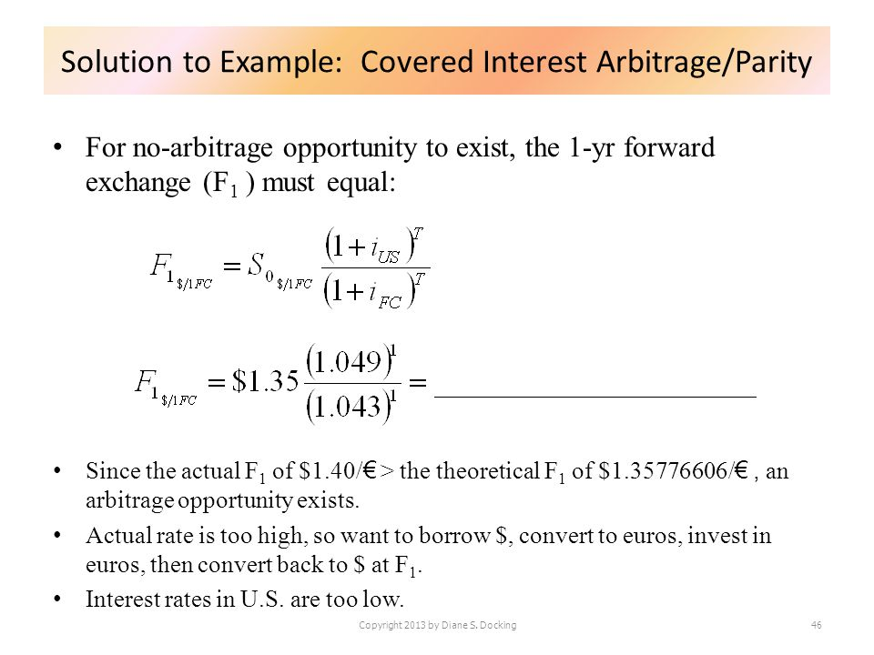 For no-arbitrage opportunity to exist, the 1-yr forward exchange (F 1 ) must equal: Since the actual F 1 of $1.40/ > the theoretical F 1 of $1.3577660
