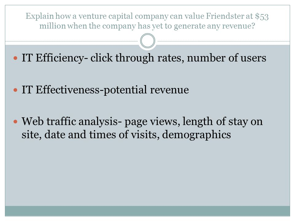 Explain how a venture capital company can value Friendster at $53 million when the company has yet to generate any revenue? IT Efficiency- click throu