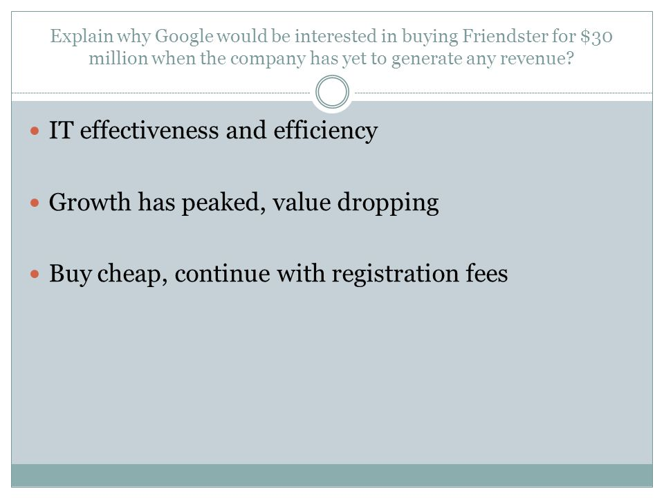 Explain why Google would be interested in buying Friendster for $30 million when the company has yet to generate any revenue? IT effectiveness and eff