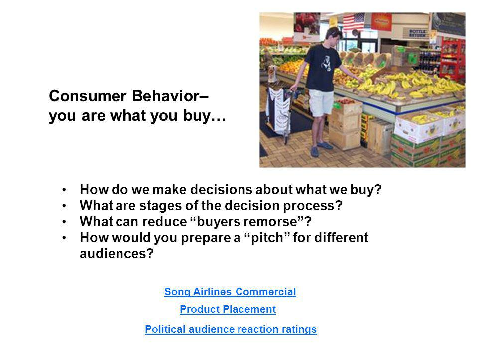 Consumer Behavior– you are what you buy… How do we make decisions about what we buy.