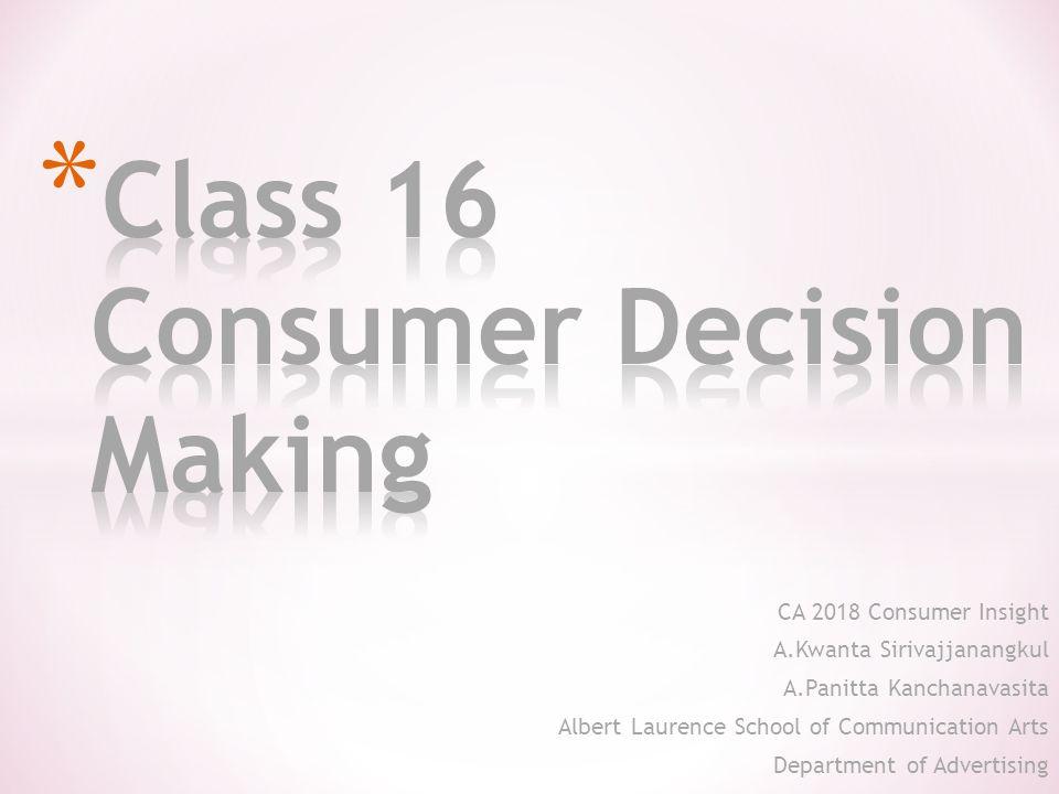 CA 2018 Consumer Insight A.Kwanta Sirivajjanangkul A.Panitta Kanchanavasita Albert Laurence School of Communication Arts Department of Advertising 2013