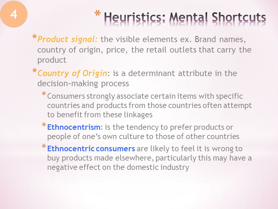 * Product signal: the visible elements ex. Brand names, country of origin, price, the retail outlets that carry the product * Country of Origin: is a