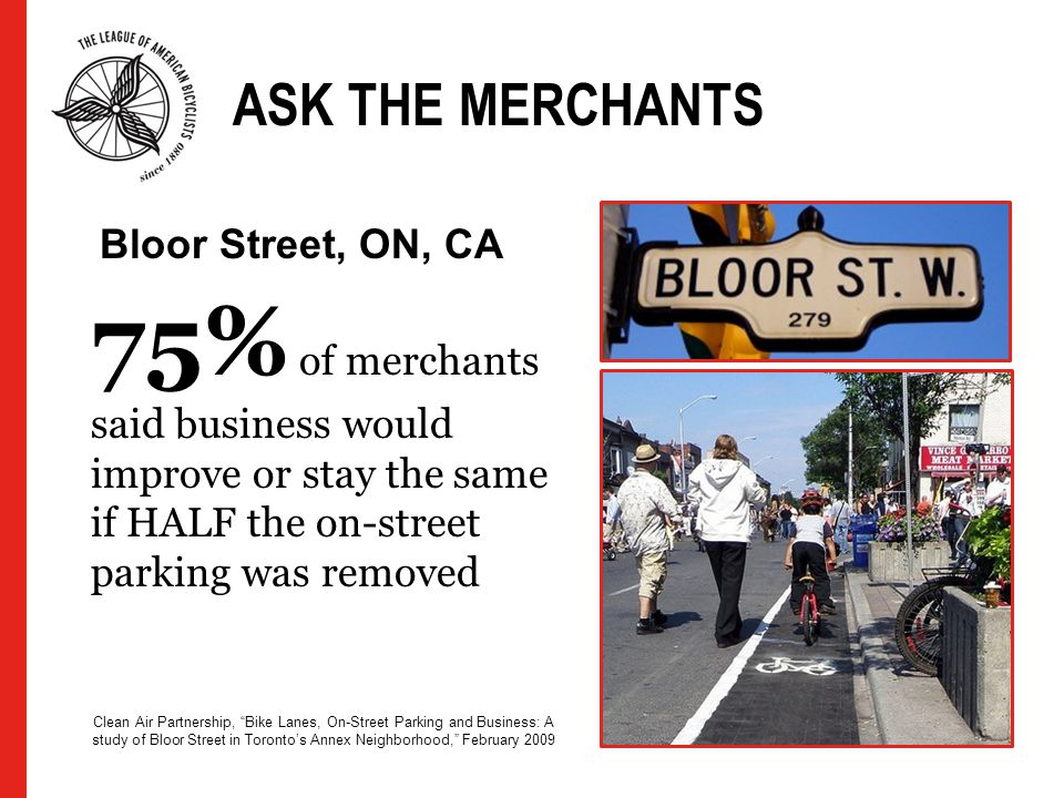ASK THE MERCHANTS 75% of merchants said business would improve or stay the same if HALF the on-street parking was removed Clean Air Partnership, Bike