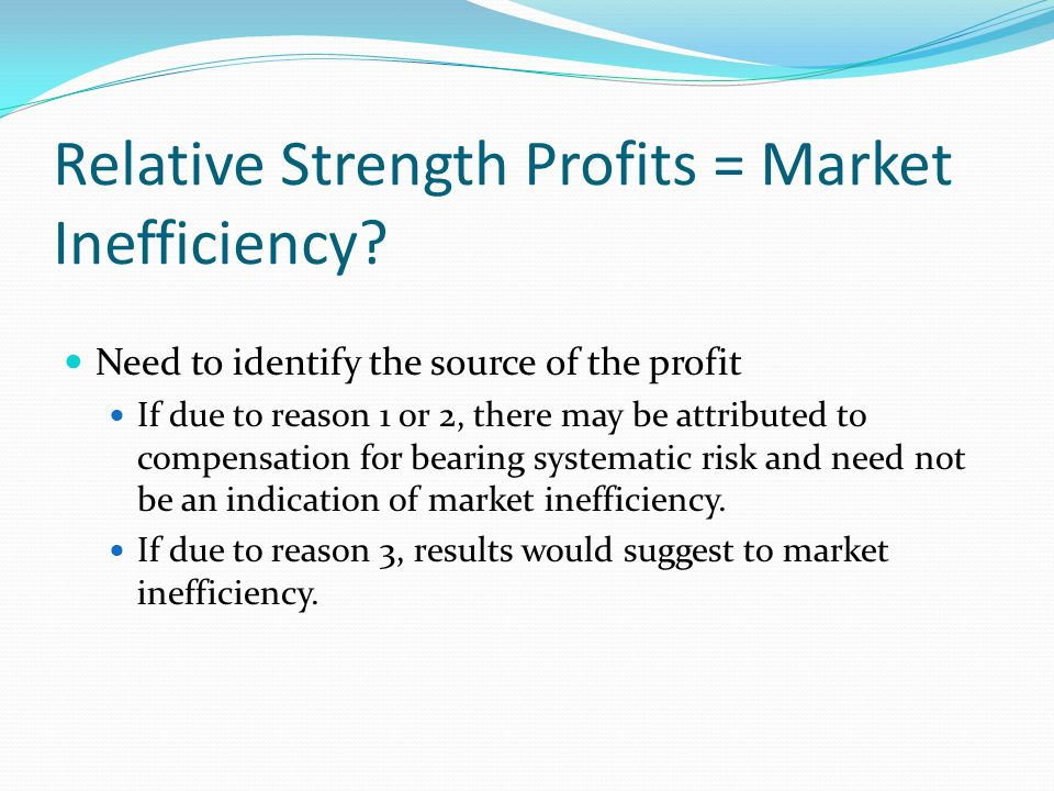 Relative Strength Profits = Market Inefficiency.