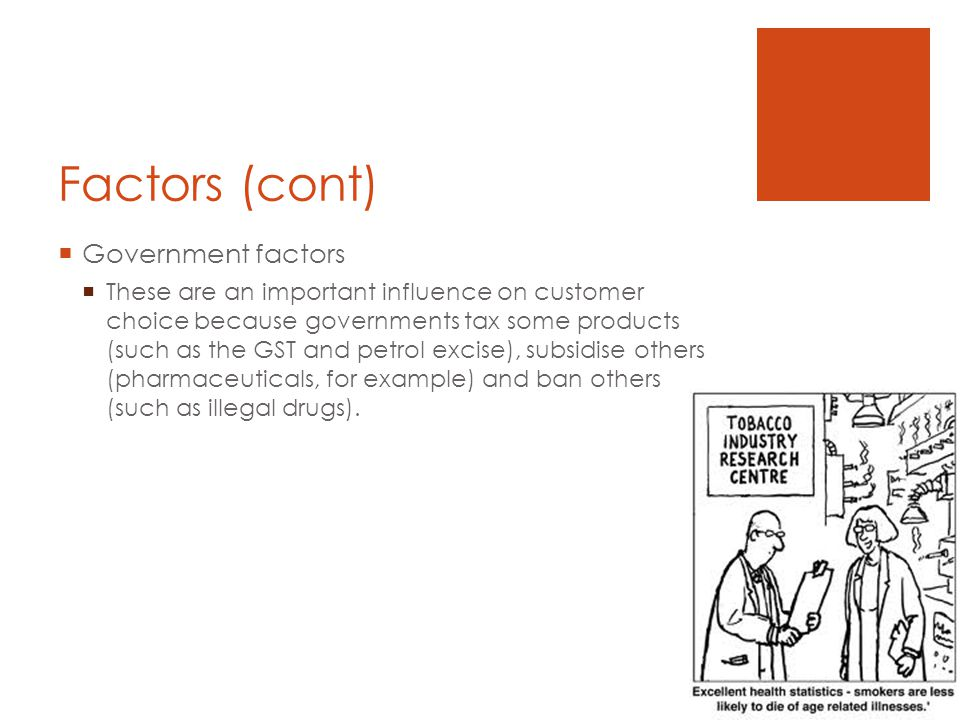 Factors (cont) Government factors These are an important influence on customer choice because governments tax some products (such as the GST and petrol excise), subsidise others (pharmaceuticals, for example) and ban others (such as illegal drugs).