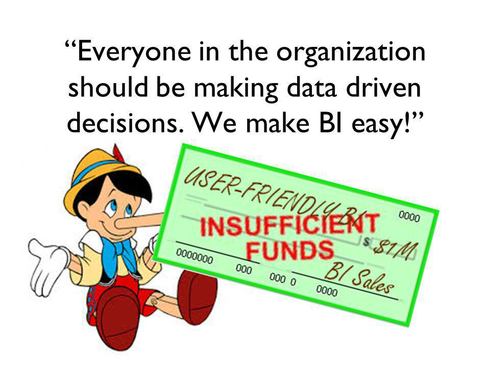 Everyone in the organization should be making data driven decisions. We make BI easy!
