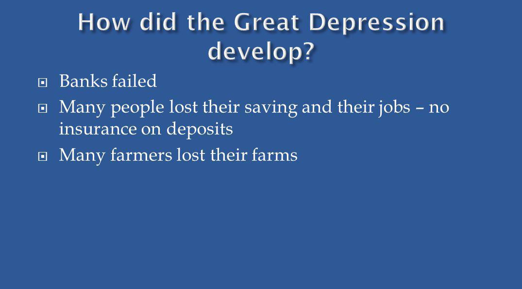 Banks failed Many people lost their saving and their jobs – no insurance on deposits Many farmers lost their farms
