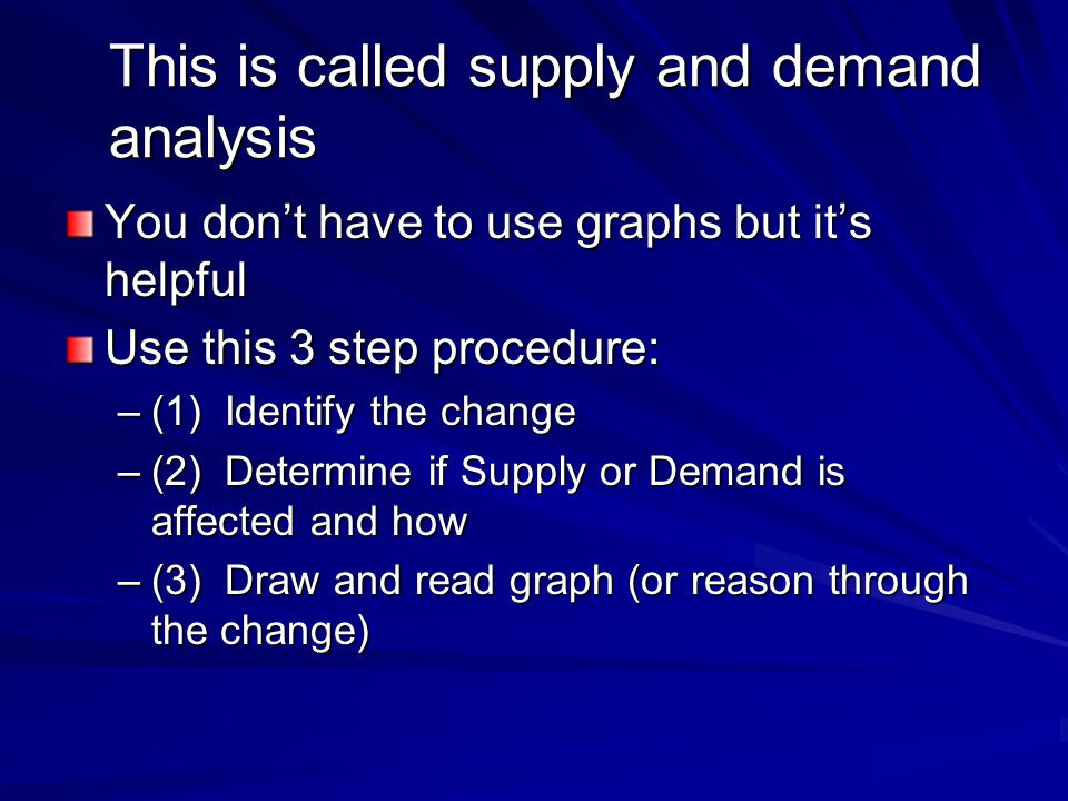 This is called supply and demand analysis You dont have to use graphs but its helpful Use this 3 step procedure: –(1) Identify the change –(2) Determi