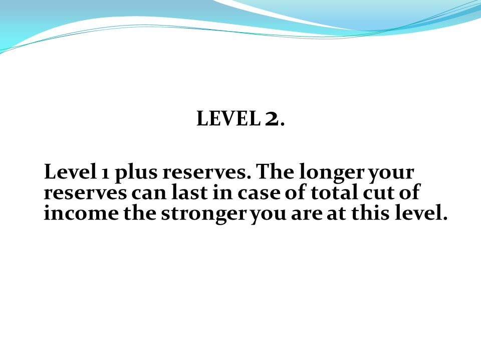 LEVEL 2. Level 1 plus reserves.