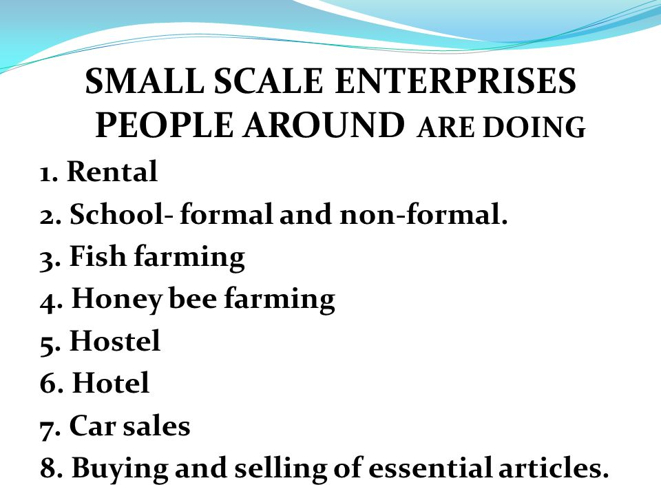 SMALL SCALE ENTERPRISES PEOPLE AROUND ARE DOING 1.