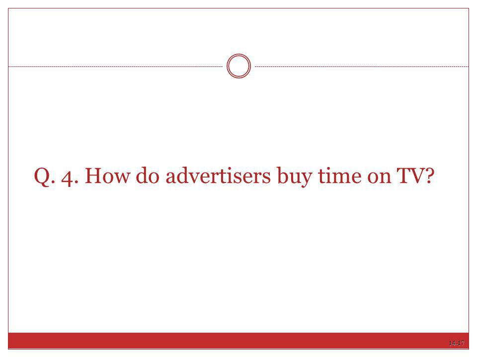 14-17 Q. 4. How do advertisers buy time on TV?