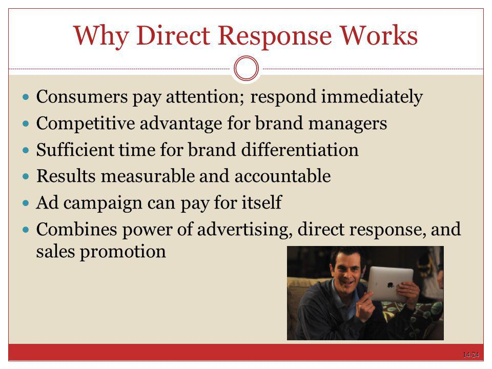 14-24 Why Direct Response Works Consumers pay attention; respond immediately Competitive advantage for brand managers Sufficient time for brand differ