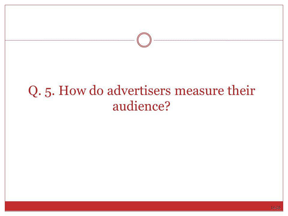 14-26 Q. 5. How do advertisers measure their audience?