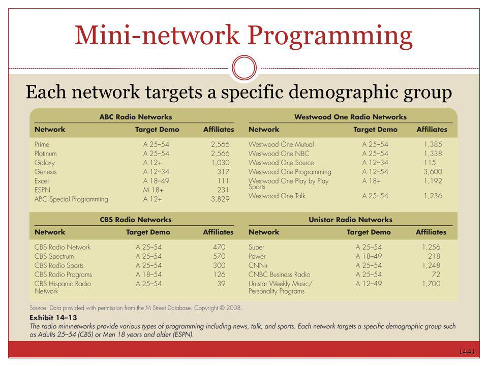 14-41 Mini-network Programming Each network targets a specific demographic group