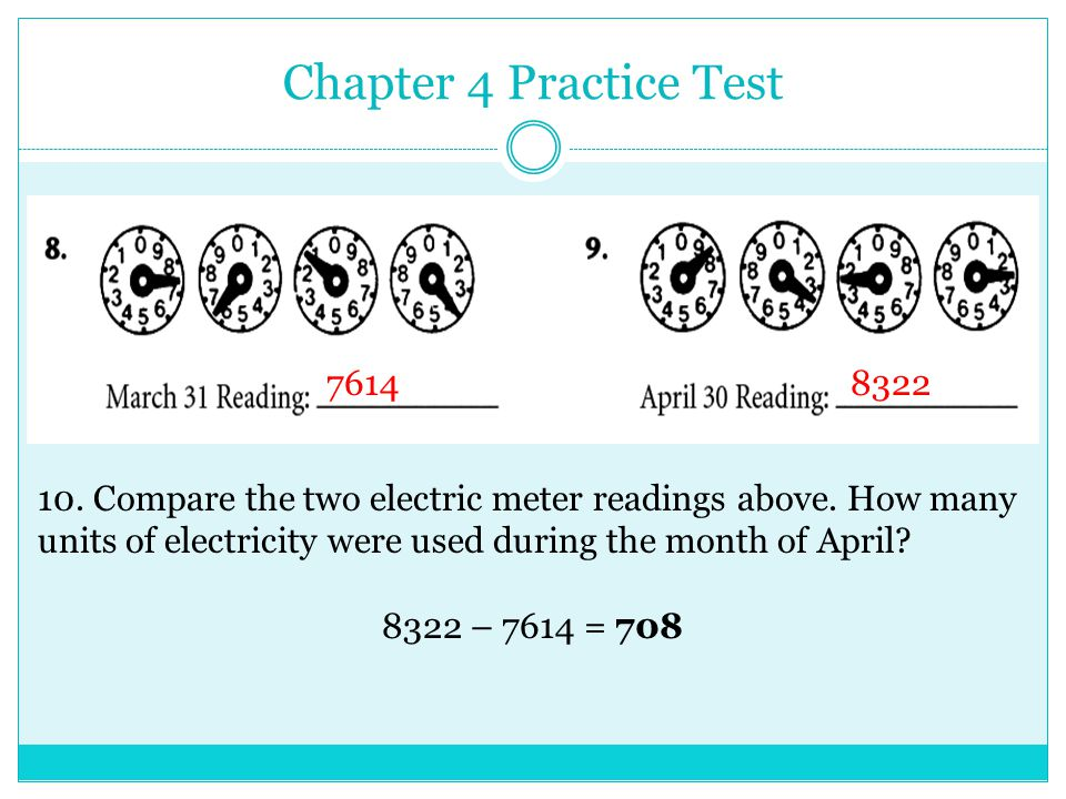 Chapter 4 Practice Test 11.The natural gas rate is $0.72 per unit.