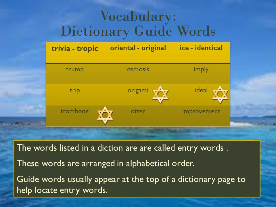 Vocabulary: Dictionary Guide Words The words listed in a diction are are called entry words.