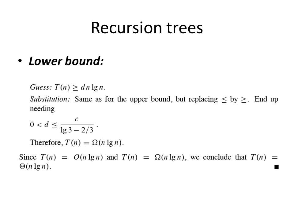 Recursion trees Lower bound: