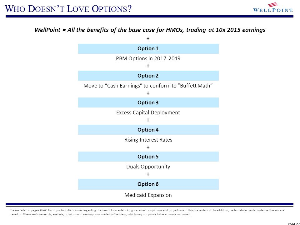 PAGE 27 W HO D OESN T L OVE O PTIONS ? WellPoint = All the benefits of the base case for HMOs, trading at 10x 2015 earnings + Option 1 PBM Options in