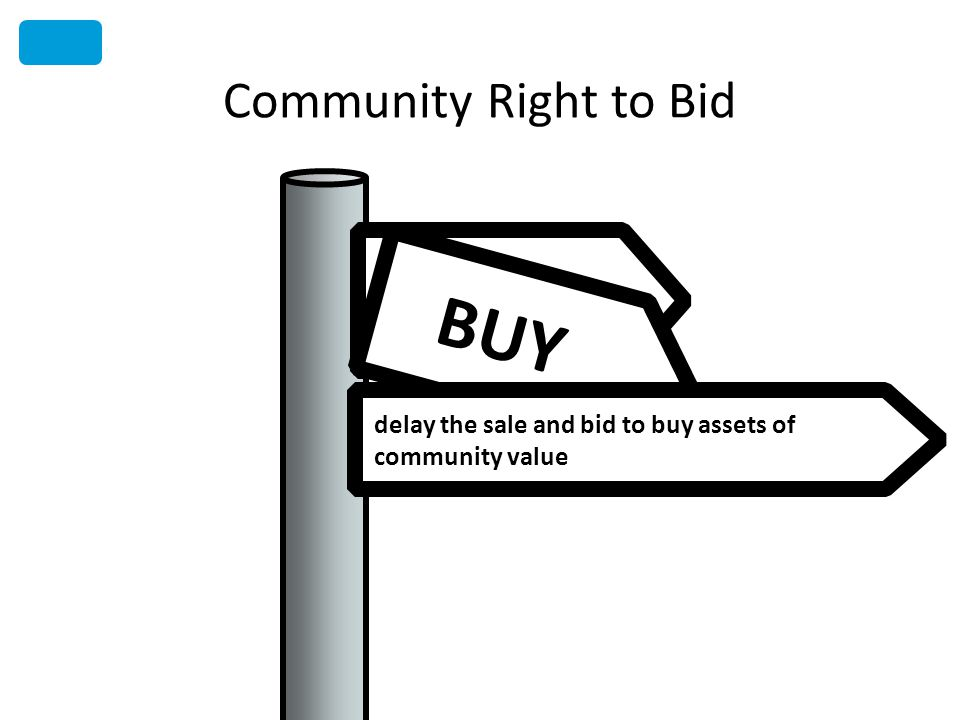 BUY Community Right to Bid delay the sale and bid to buy assets of community value