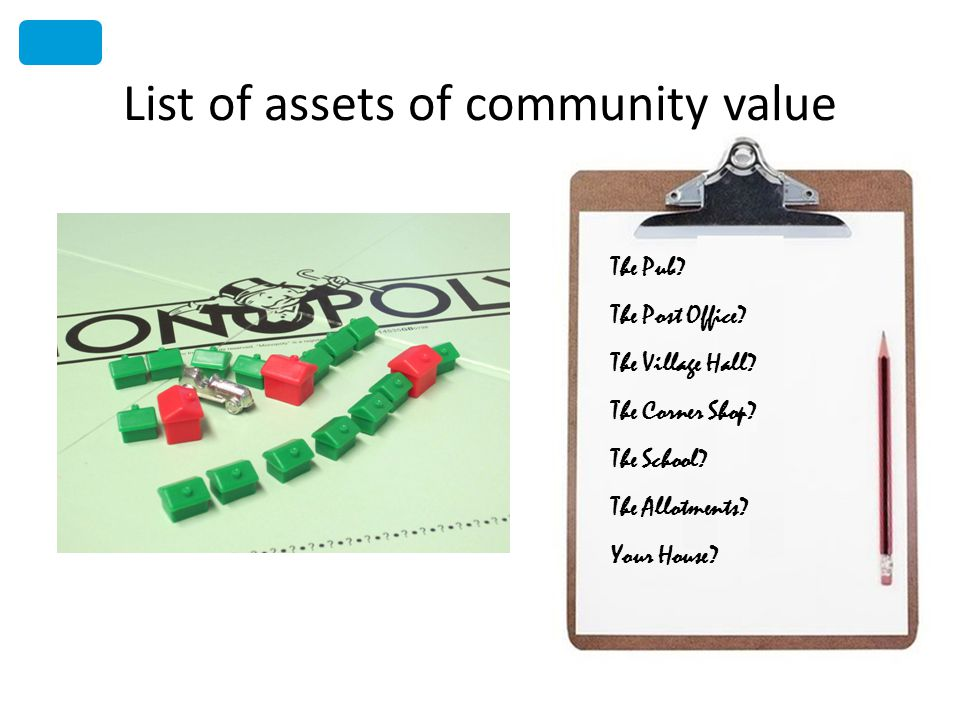 List of assets of community value The Pub. The Post Office.