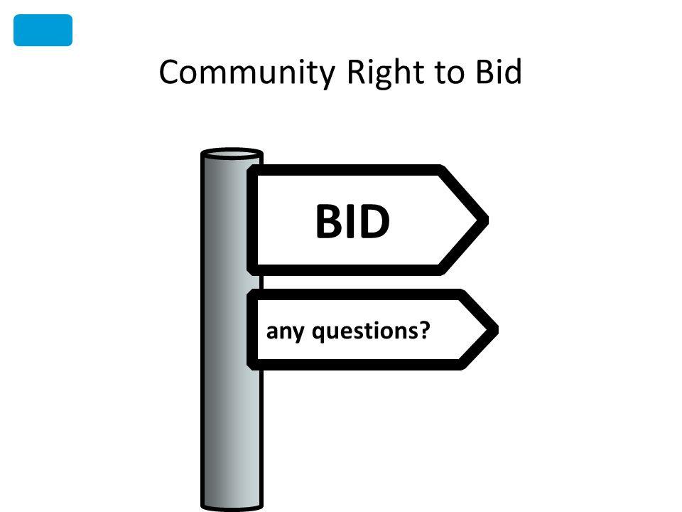 Community Right to Bid any questions BID