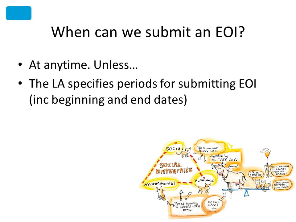 When can we submit an EOI? At anytime. Unless… The LA specifies periods for submitting EOI (inc beginning and end dates)