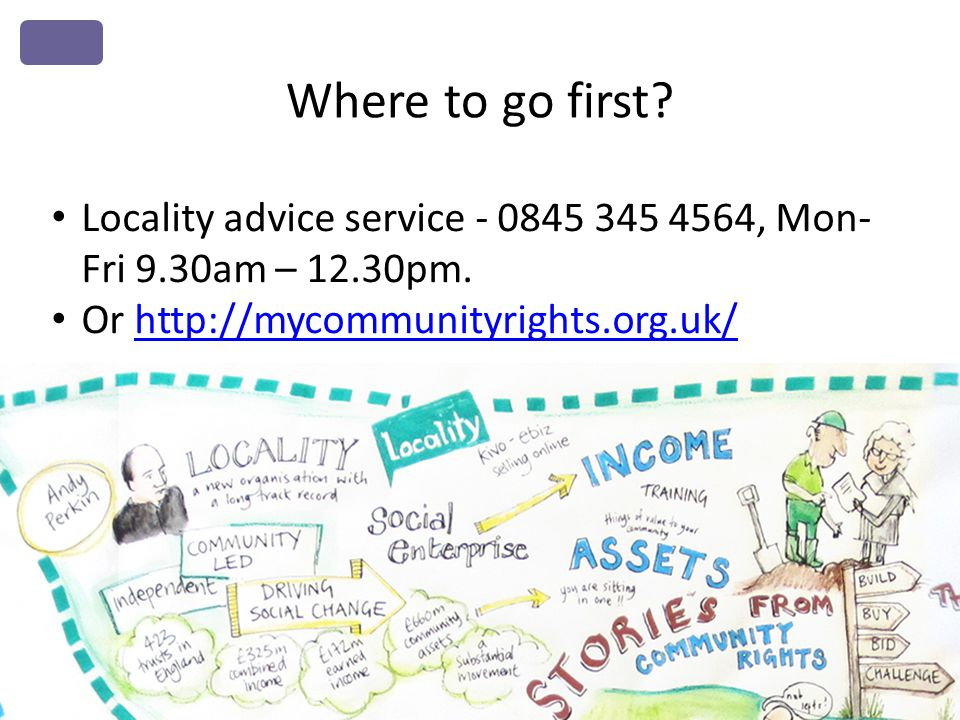 Where to go first.Locality advice service - 0845 345 4564, Mon- Fri 9.30am – 12.30pm.