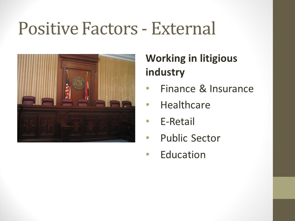 Positive Factors - External Working in litigious industry Finance & Insurance Healthcare E-Retail Public Sector Education