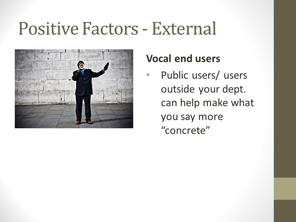 Positive Factors - External Vocal end users Public users/ users outside your dept.