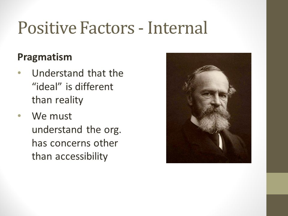 Positive Factors - Internal Pragmatism Understand that the ideal is different than reality We must understand the org.