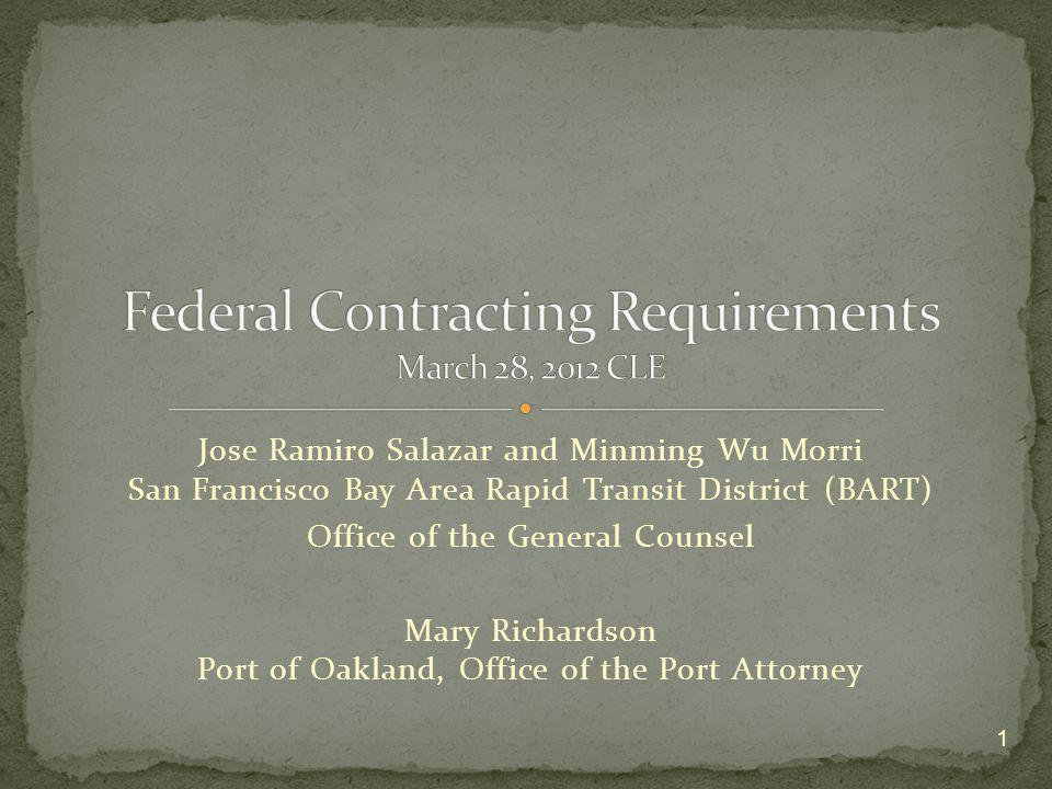 Jose Ramiro Salazar and Minming Wu Morri San Francisco Bay Area Rapid Transit District (BART) Office of the General Counsel Mary Richardson Port of Oa