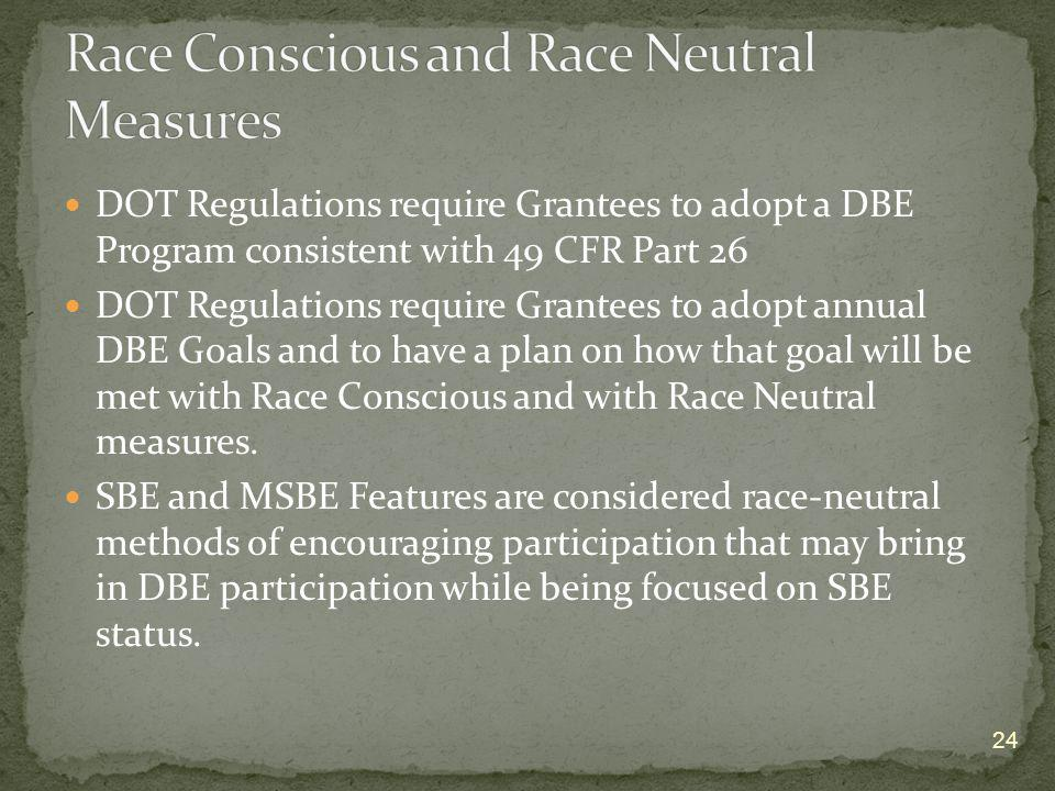 DOT Regulations require Grantees to adopt a DBE Program consistent with 49 CFR Part 26 DOT Regulations require Grantees to adopt annual DBE Goals and