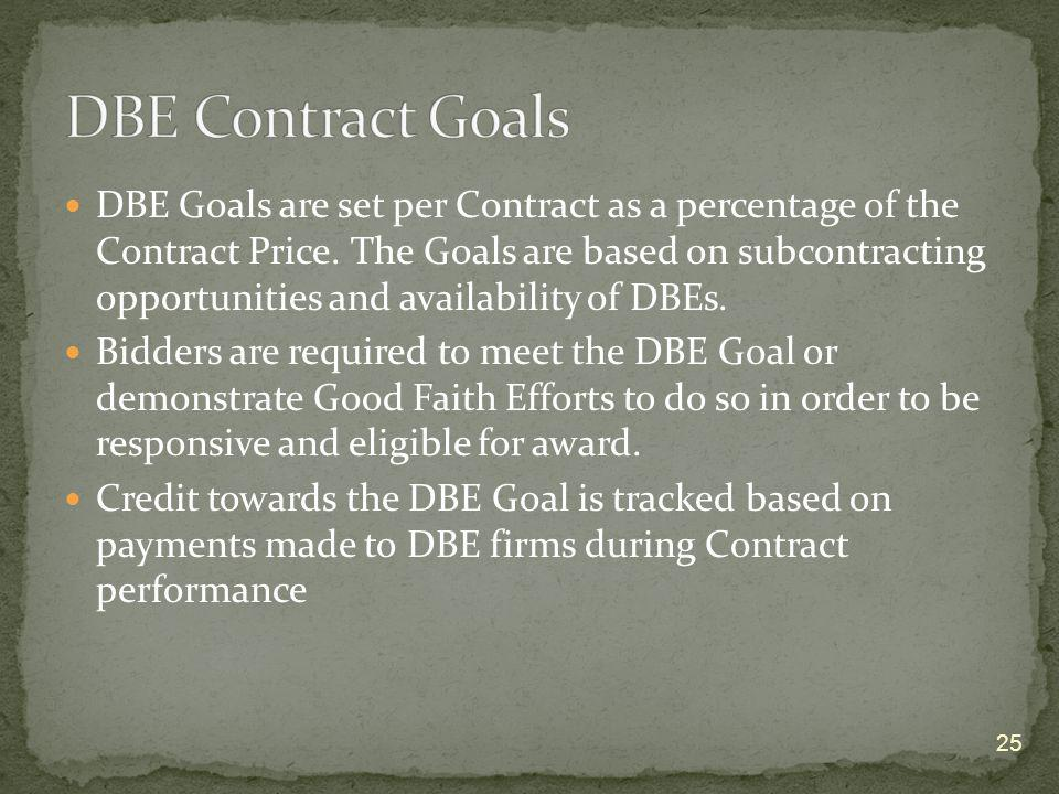 DBE Goals are set per Contract as a percentage of the Contract Price. The Goals are based on subcontracting opportunities and availability of DBEs. Bi