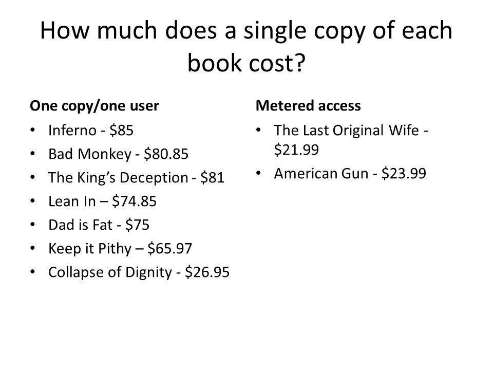 How much does a single copy of each book cost? One copy/one user Inferno - $85 Bad Monkey - $80.85 The Kings Deception - $81 Lean In – $74.85 Dad is F