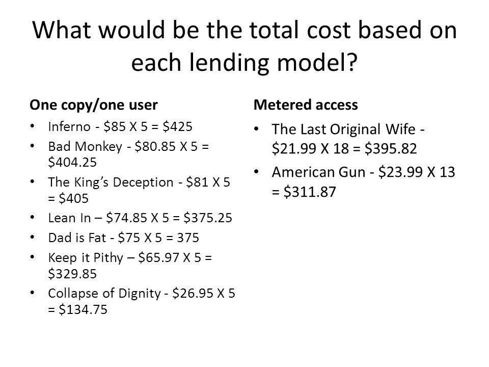 What would be the total cost based on each lending model.