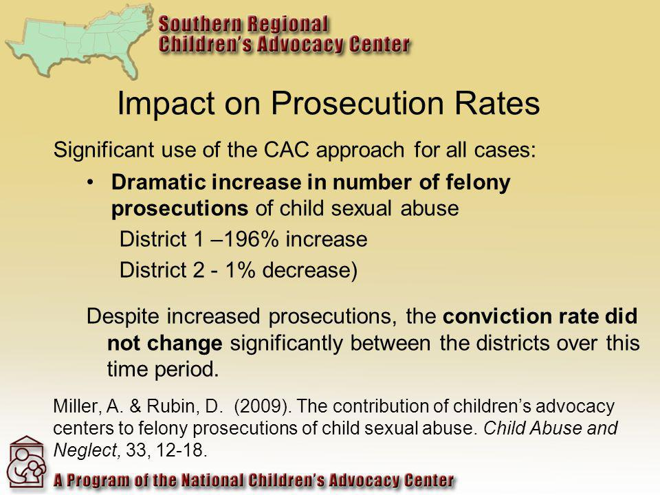 Impact on Prosecution Rates Significant use of the CAC approach for all cases: Dramatic increase in number of felony prosecutions of child sexual abus