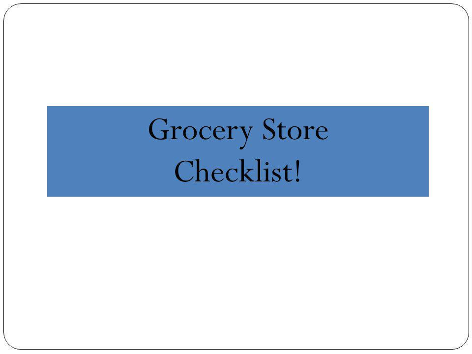 Grocery Store Checklist!