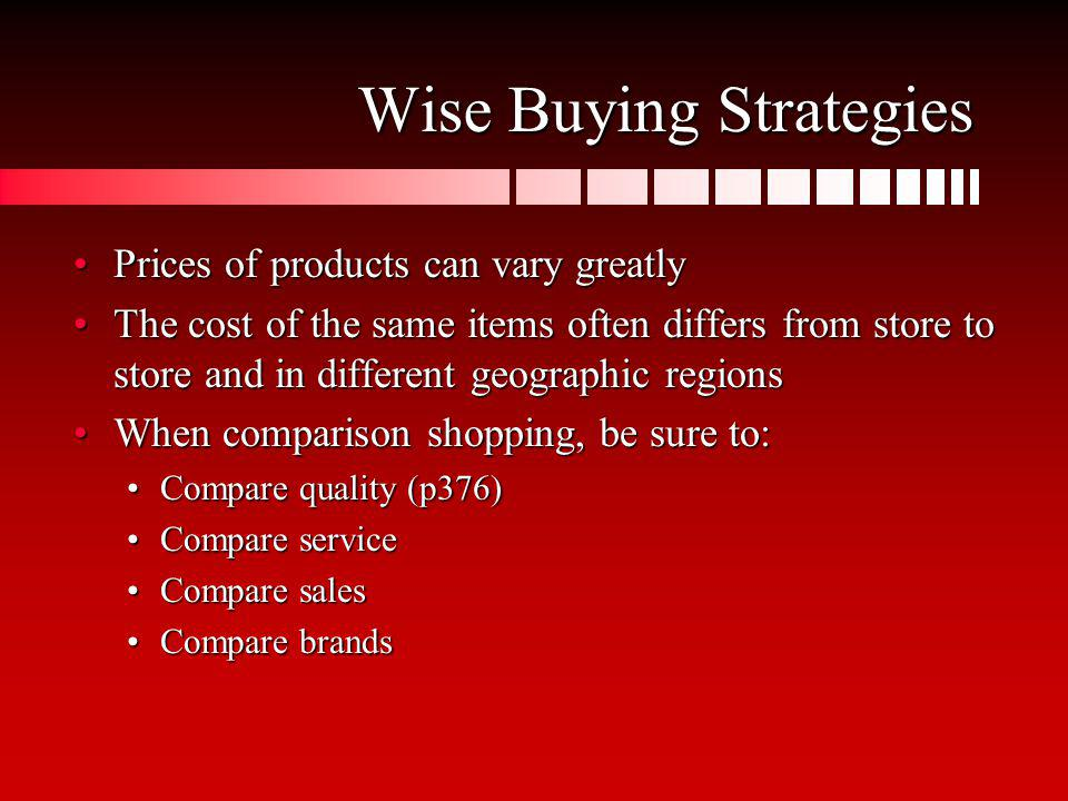 Wise Buying Strategies Prices of products can vary greatlyPrices of products can vary greatly The cost of the same items often differs from store to s