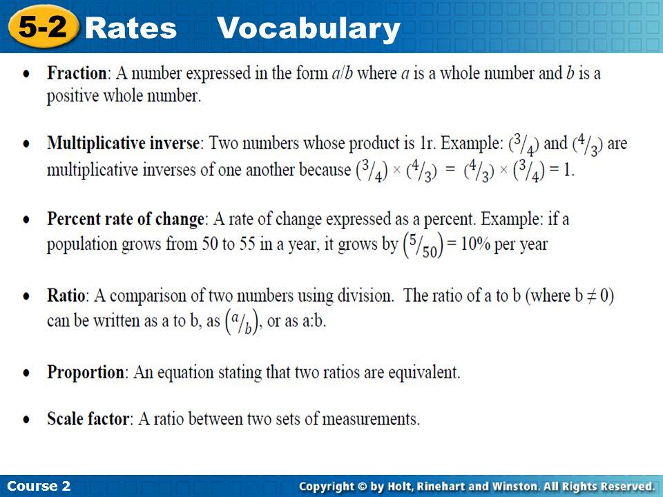 Course 2 5-2 RatesVocabulary