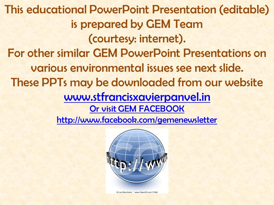 This educational PowerPoint Presentation (editable) is prepared by GEM Team (courtesy: internet). For other similar GEM PowerPoint Presentations on va