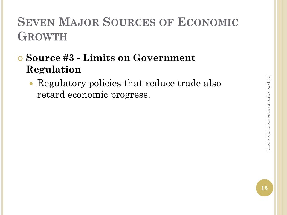 S EVEN M AJOR S OURCES OF E CONOMIC G ROWTH Source #3 - Limits on Government Regulation Regulatory policies that reduce trade also retard economic pro