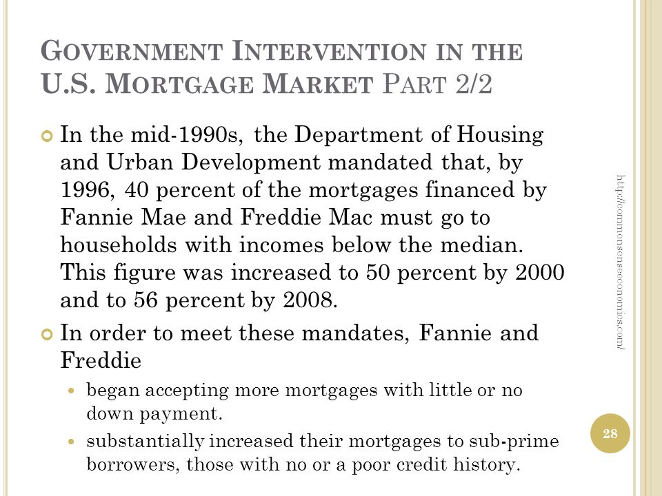 G OVERNMENT I NTERVENTION IN THE U.S. M ORTGAGE M ARKET P ART 2/2 In the mid-1990s, the Department of Housing and Urban Development mandated that, by