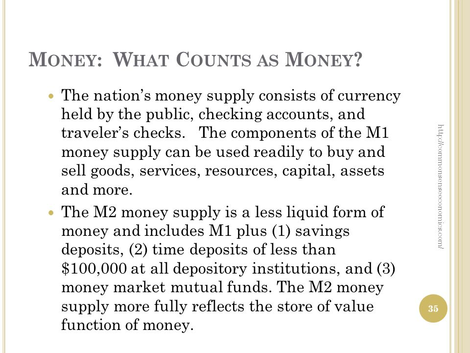 M ONEY : W HAT C OUNTS AS M ONEY ? The nations money supply consists of currency held by the public, checking accounts, and travelers checks. The comp
