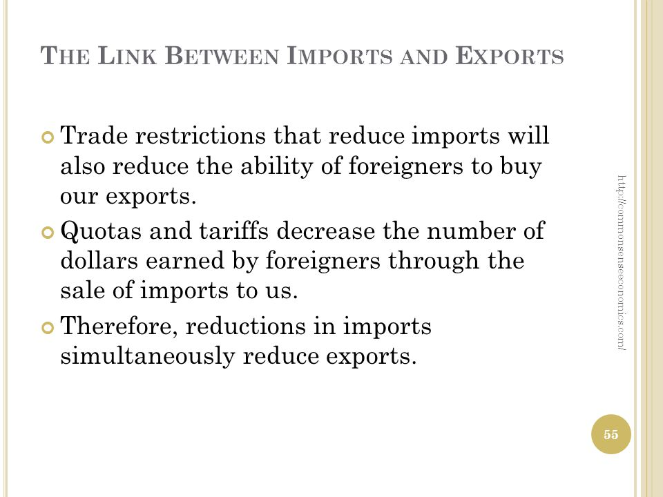 T HE L INK B ETWEEN I MPORTS AND E XPORTS Trade restrictions that reduce imports will also reduce the ability of foreigners to buy our exports. Quotas
