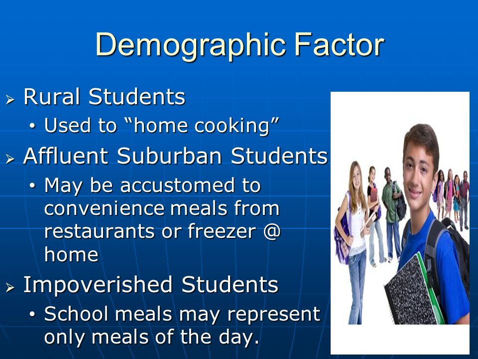 Demographic Factor Rural Students Rural Students Used to home cooking Used to home cooking Affluent Suburban Students Affluent Suburban Students May be accustomed to convenience meals from restaurants or freezer @ home May be accustomed to convenience meals from restaurants or freezer @ home Impoverished Students Impoverished Students School meals may represent only meals of the day.