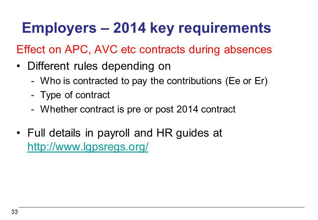 33 Employers – 2014 key requirements Effect on APC, AVC etc contracts during absences Different rules depending on -Who is contracted to pay the contr